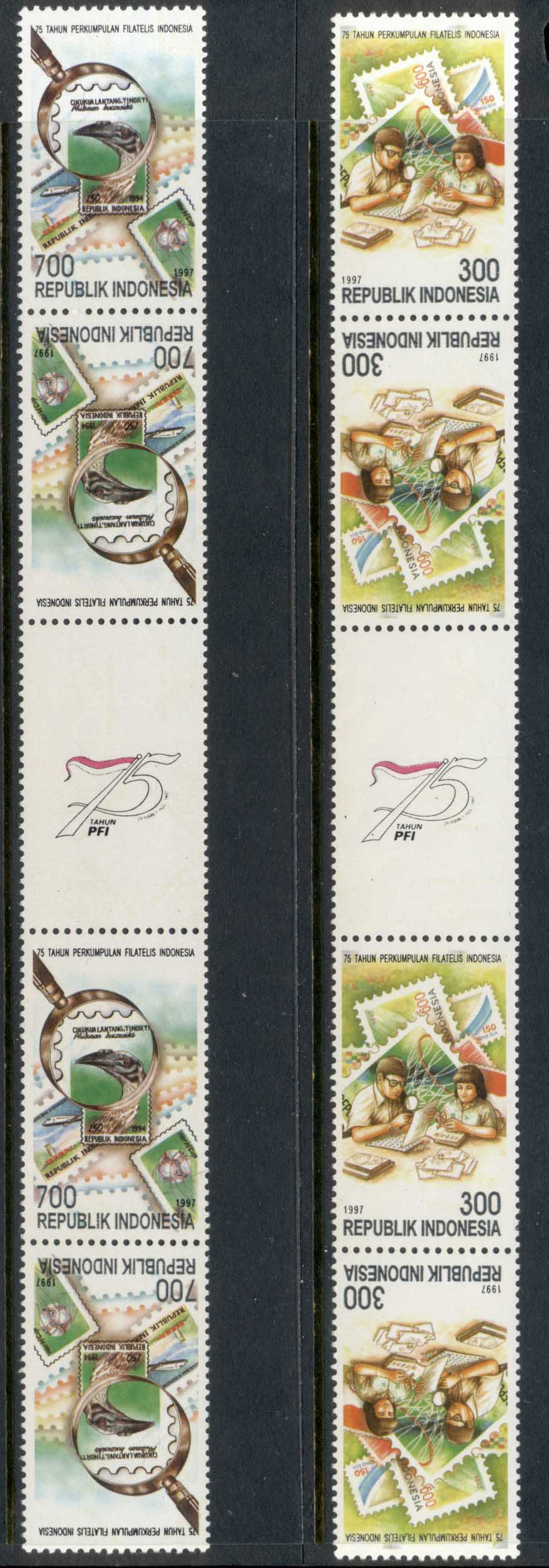 Indonesia 1997 Indonesian Philatelists gutter str 4 tete-beche MUH