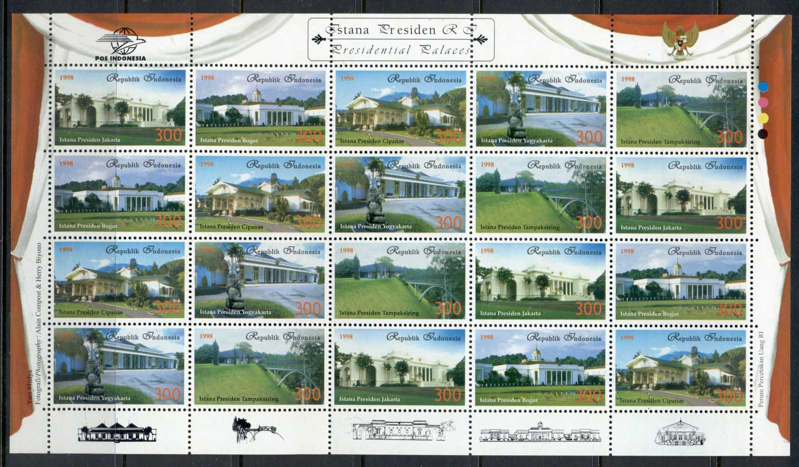 Indonesia 1998 Presidential Palaces sheetlet MUH