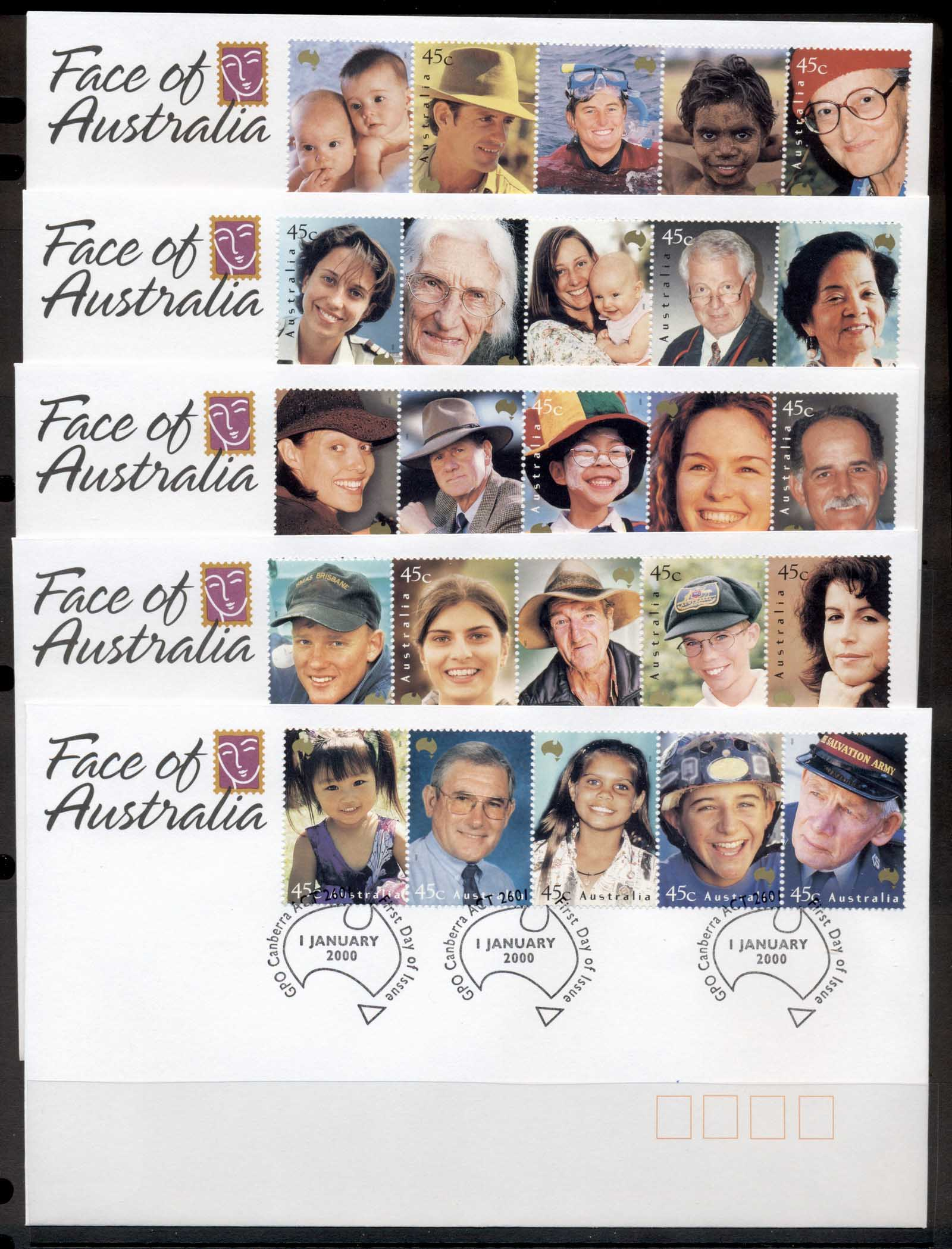 Australia 2000 Faces of Australia 5x FDC