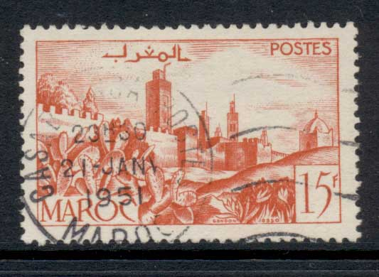 French Morocco 1949 Walled City 15f FU