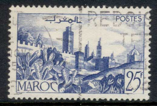 French Morocco 1949 Walled City 25f FU