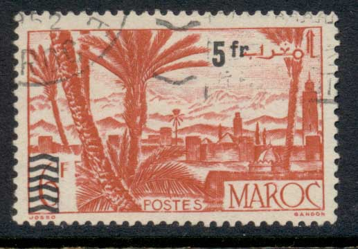 French Morocco 1951 Surcharge 5f on 6f FU