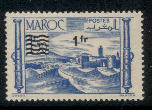 French Morocco 1954 Surcharge 1 f on 1.50f MLH