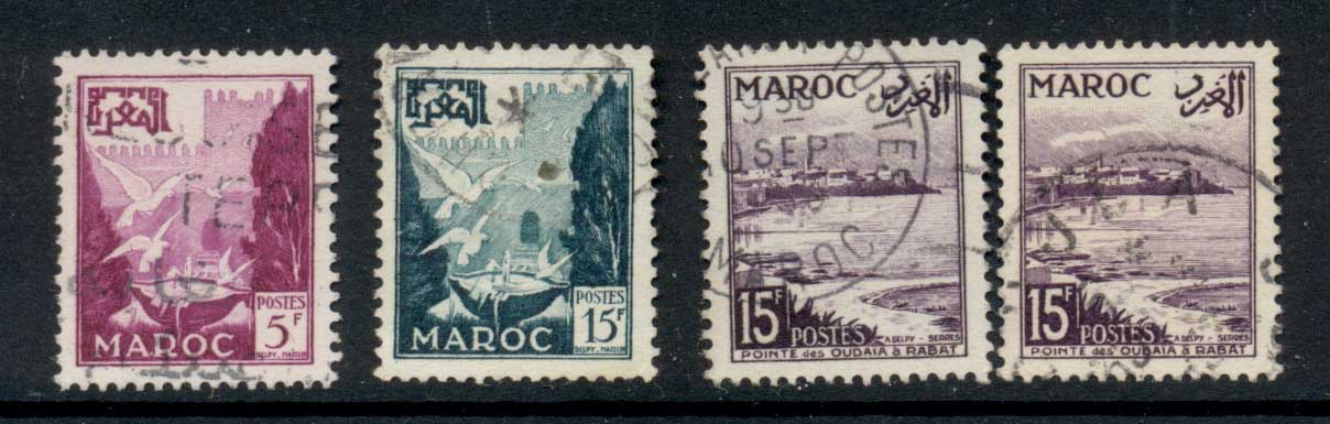 French Morocco 1954 Pictorial new vals asst FU