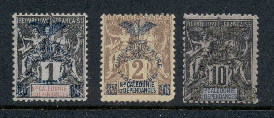 New Caledonia 1903 Navigation & Commerce 1,2,10c Opt MLH