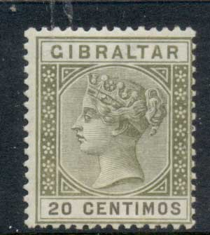 Gibraltar 1889-95 QV Portrait 20 centimes olive green & brown MLH