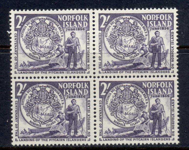 Norfolk Is 1956 Landing of Pitcairn Islanders Cent. Blk4 MUH