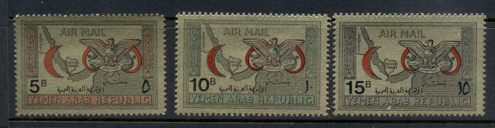 Yemen 1968 Mi#727-729 Red Crescent Society , gold paper MUH