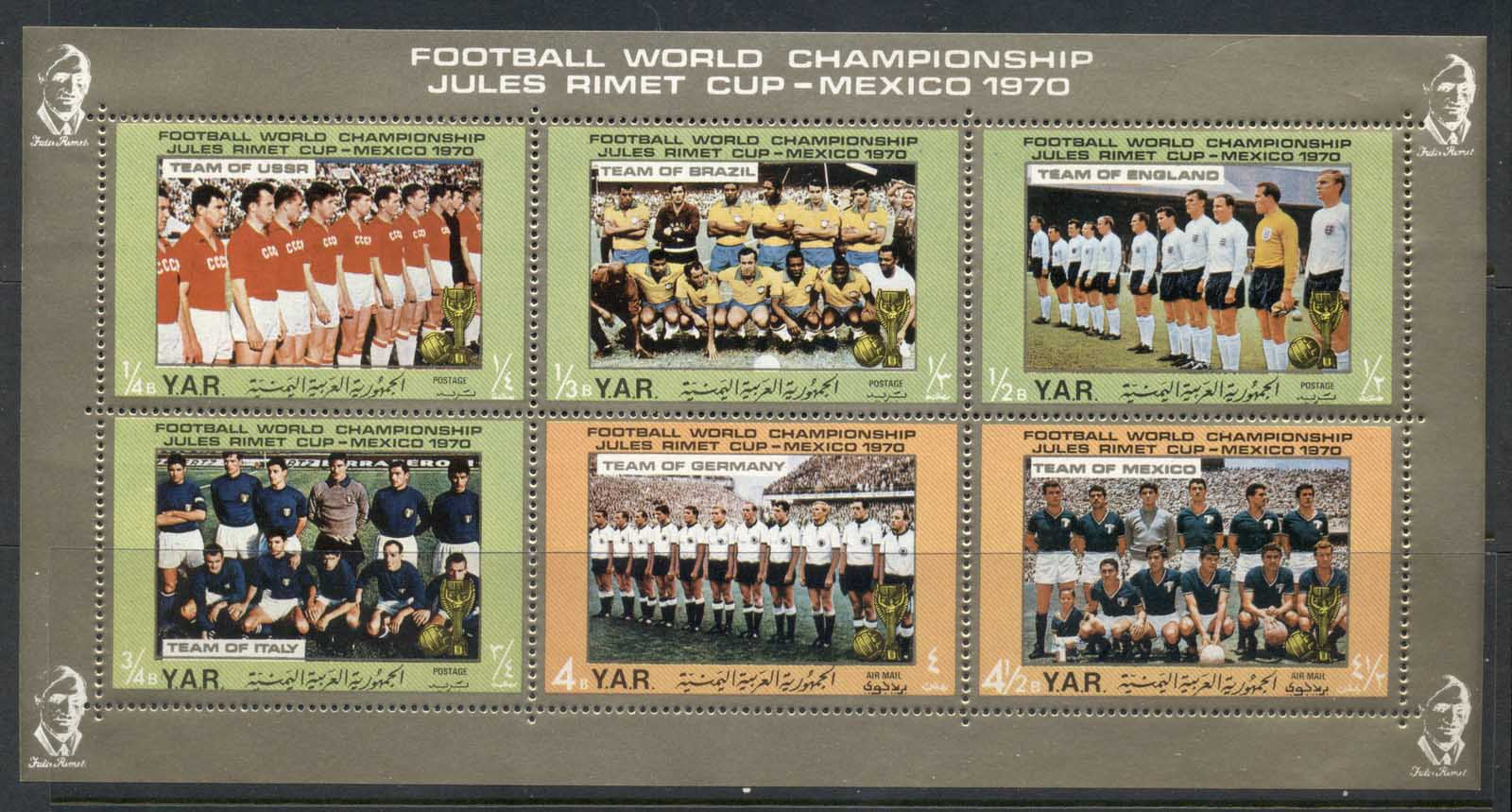 Yemen 1970 Mi#1145-1150 Football World Championship, Mexico, Teams sheetlet MUH