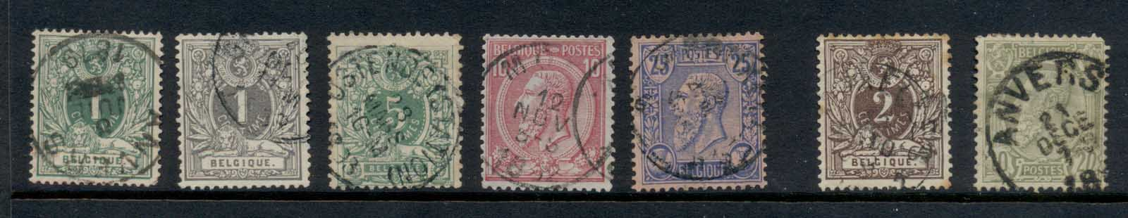 Belgium 1884-90 King Leopold II Asst (light tones) FU