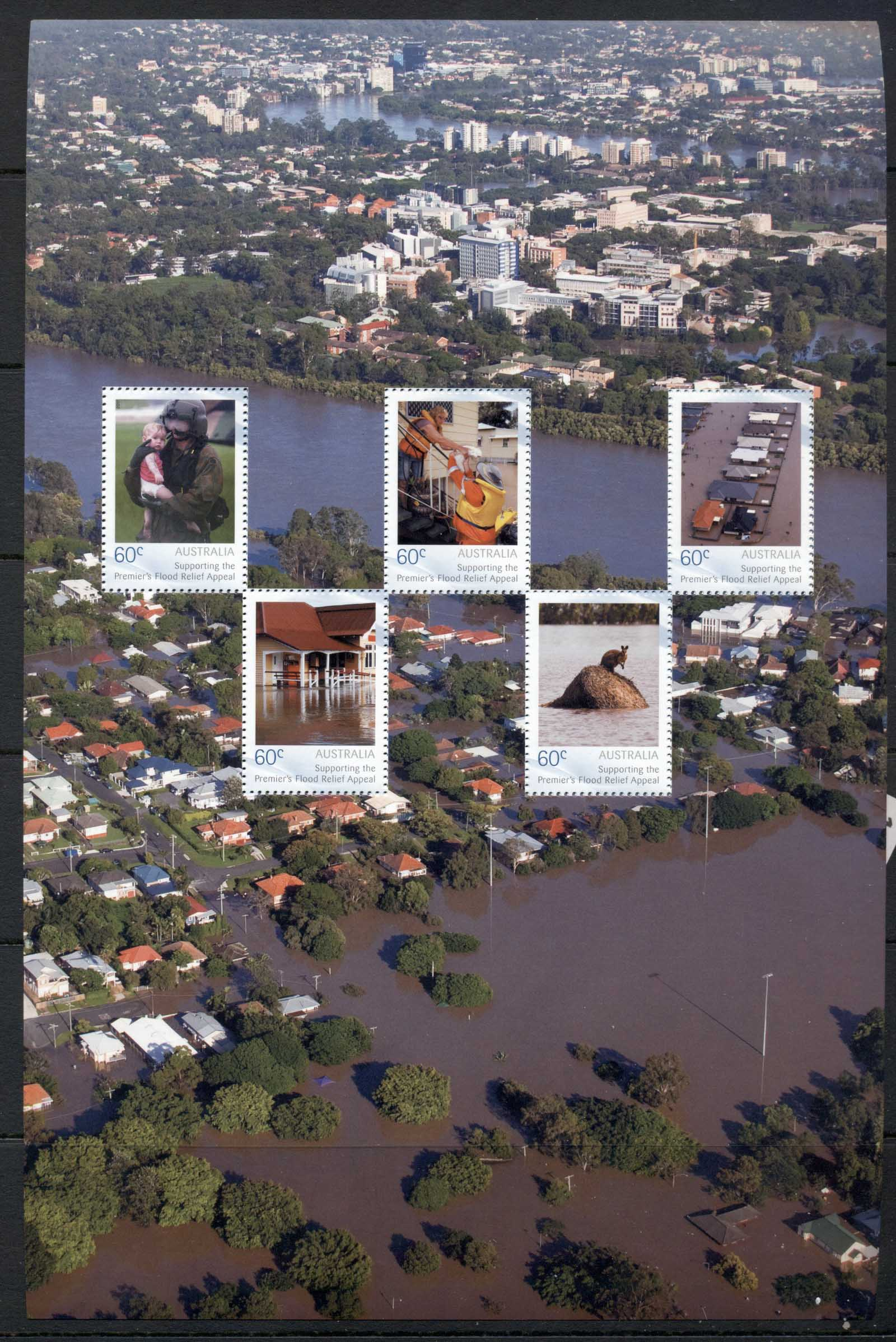 Australia 2011 Premiers Flood Relief sheet ex Yearbook MUH