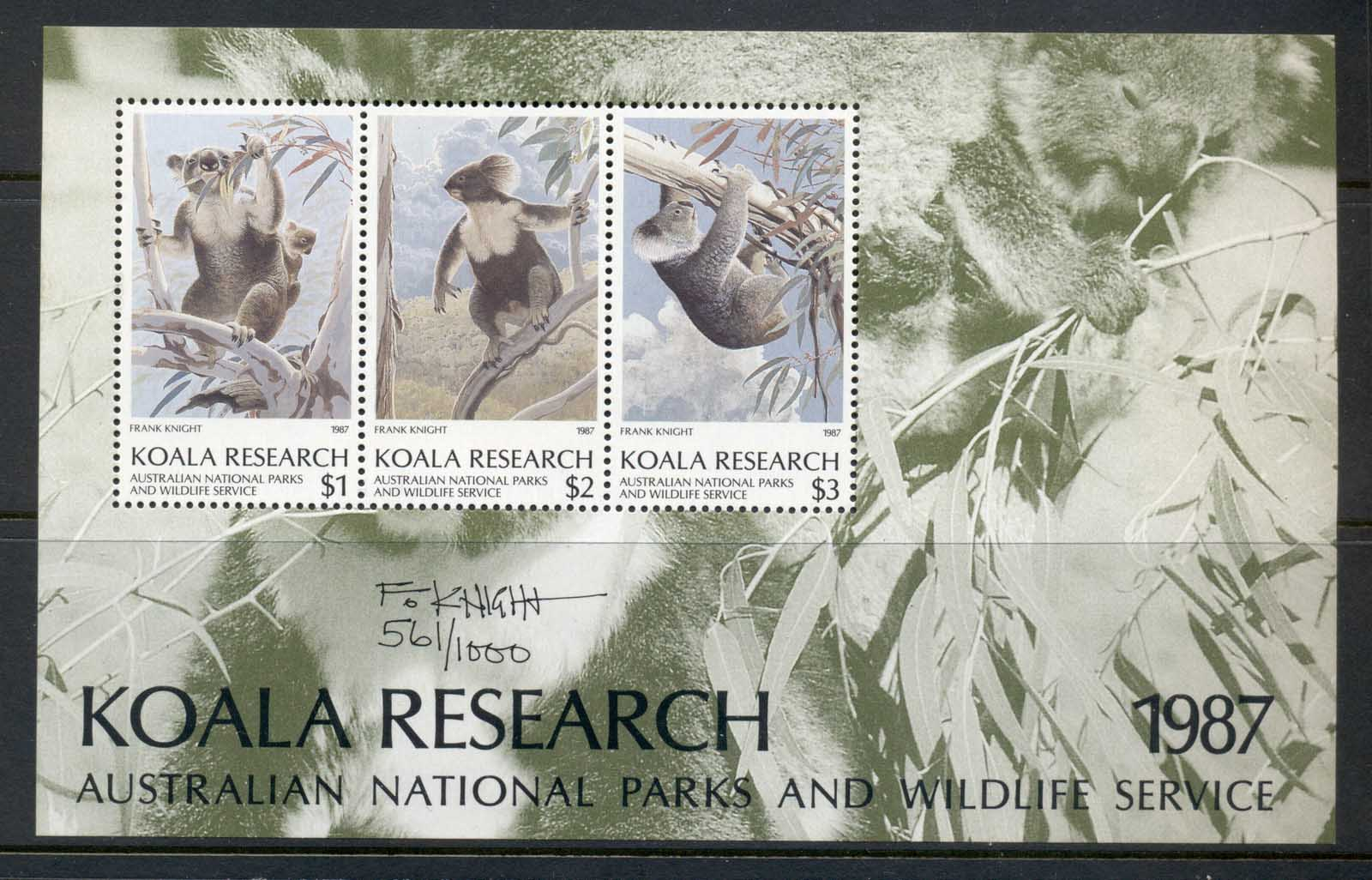 Australia 1987 National Parks & Wildlife Koala research signed MS MUH