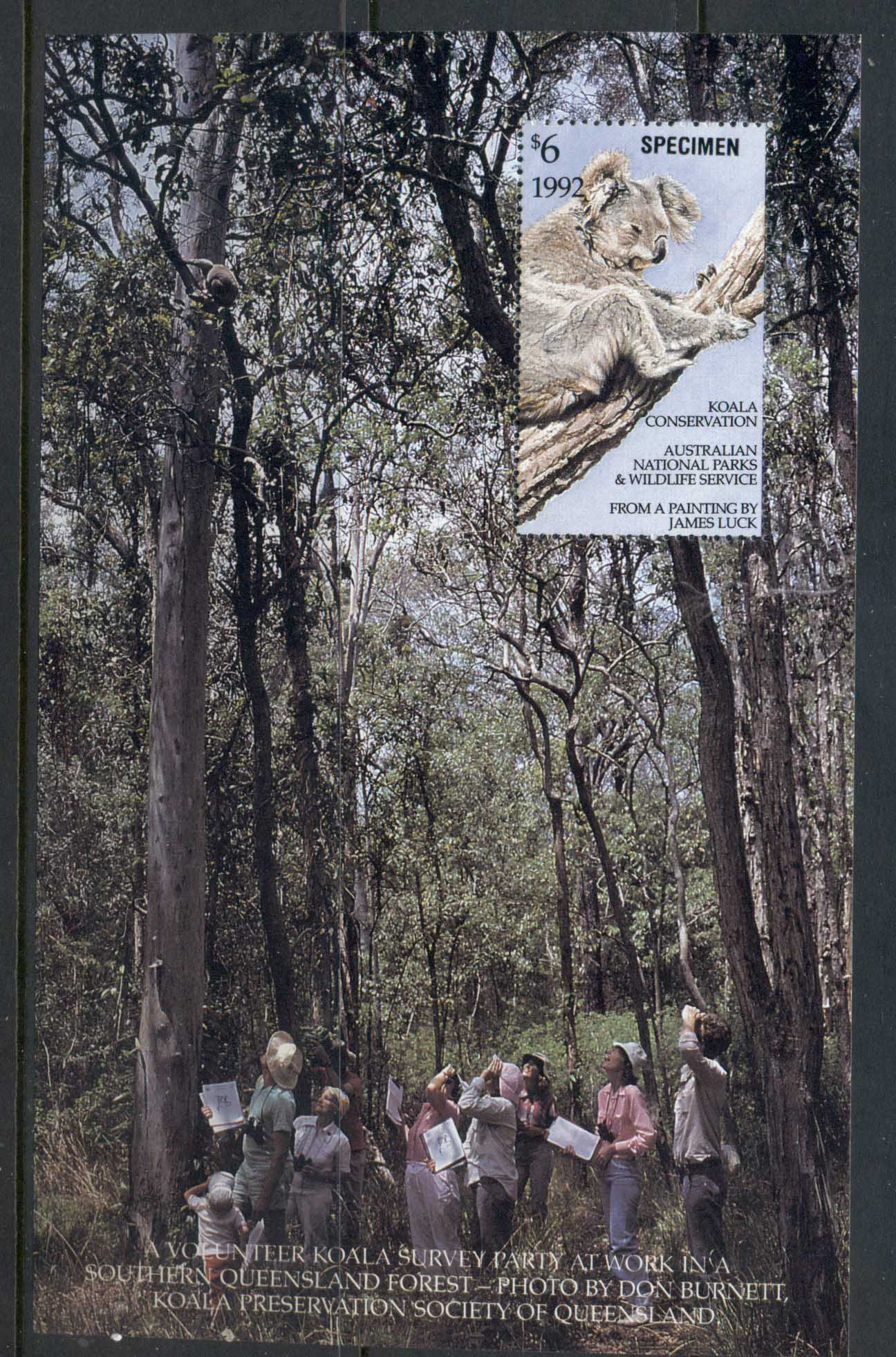 Australia 1992 National Parks & Wildlife Koala Conservation SPECIMEN MS MUH