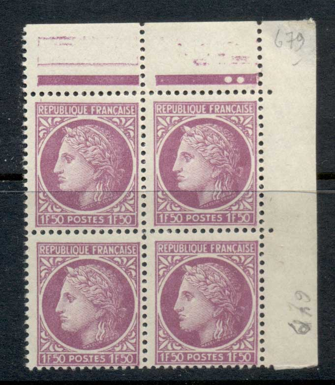 France 1945-47 Ceres 1f50c rose lilac blk4 MUH