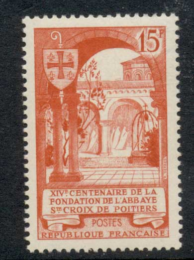 France 1952 Abbey of the Holy Cross at Poitiers MUH