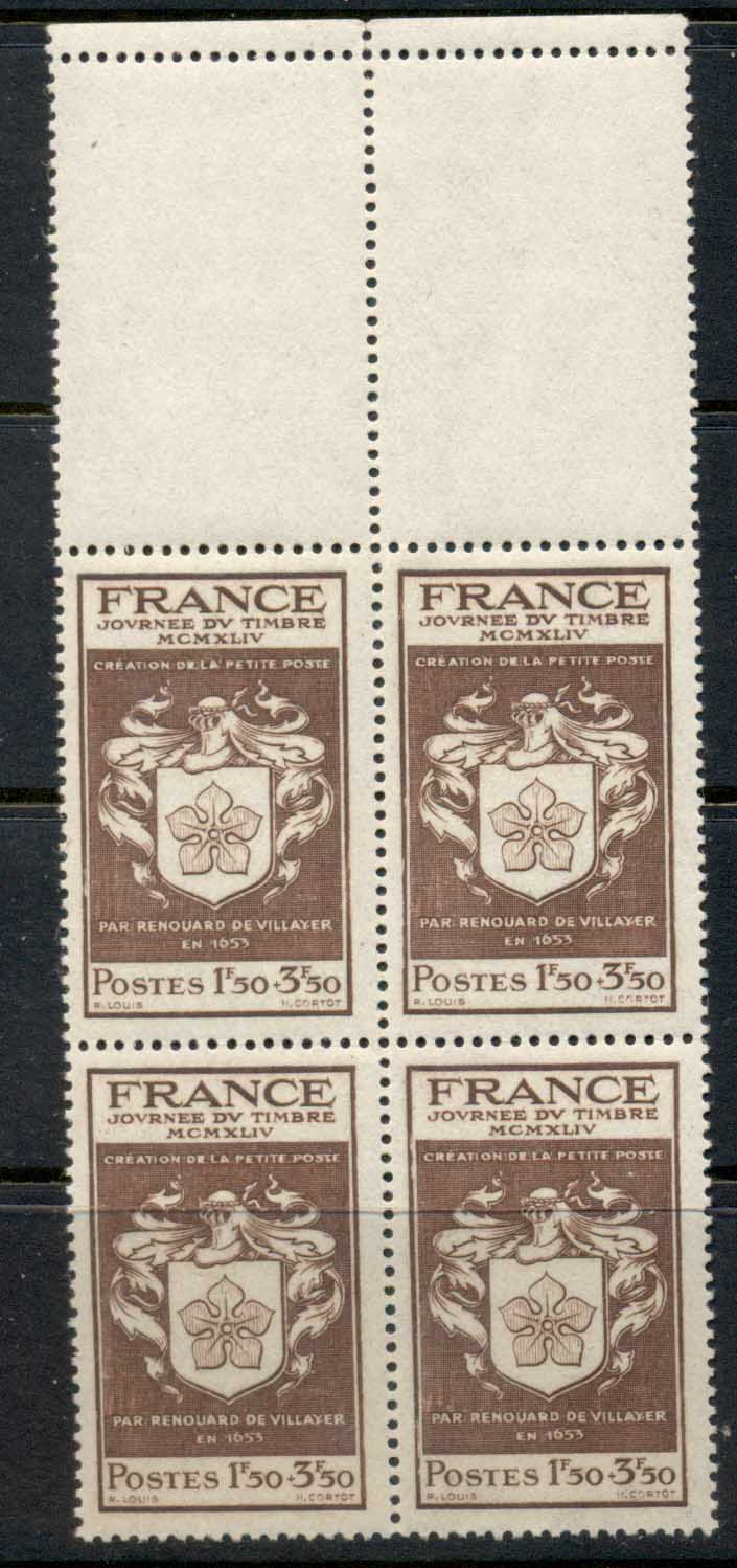 France 1944 Stamp Day blk4 MUH