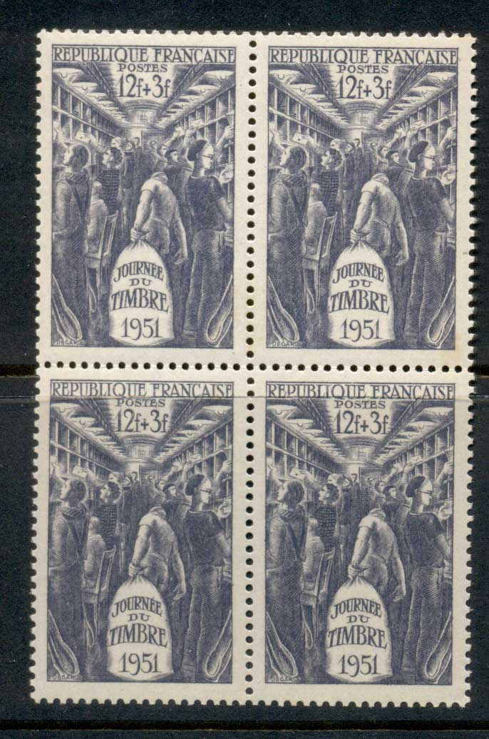 France 1951 Stamp Day blk4 MUH