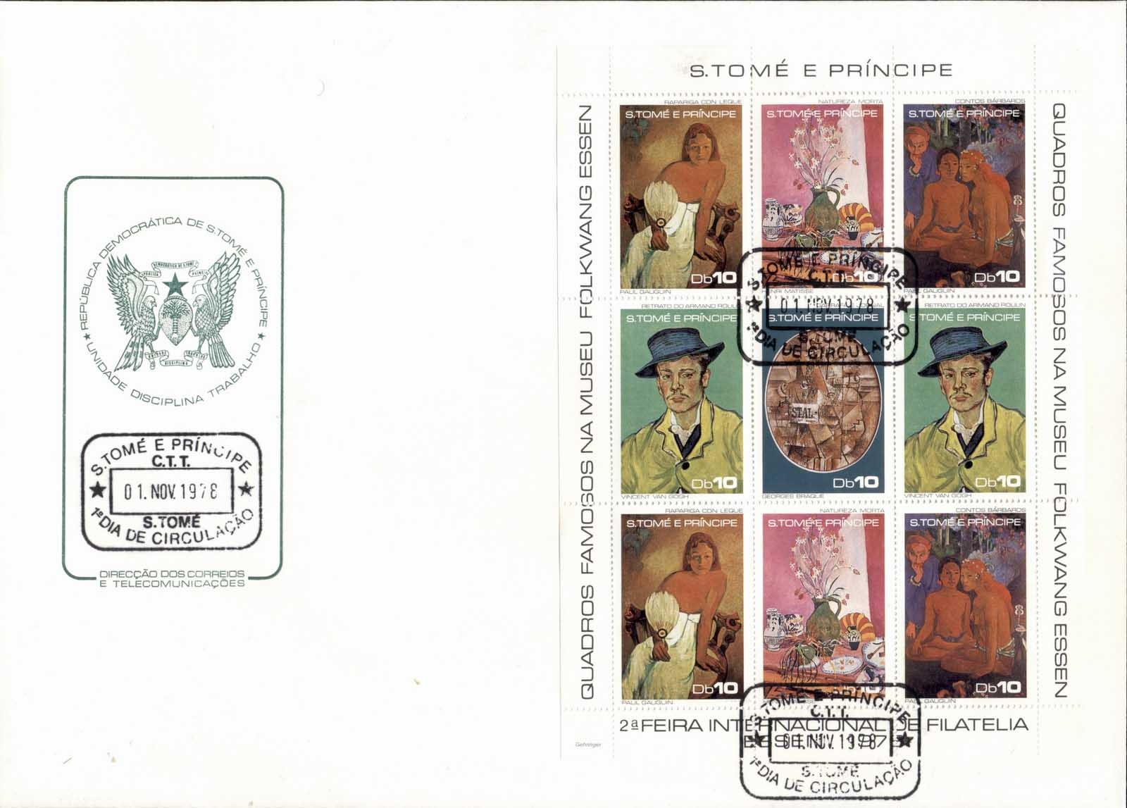 Sao Tome et Principe 1978 Paintings by Paul Gaugin sheetlet XLFDC