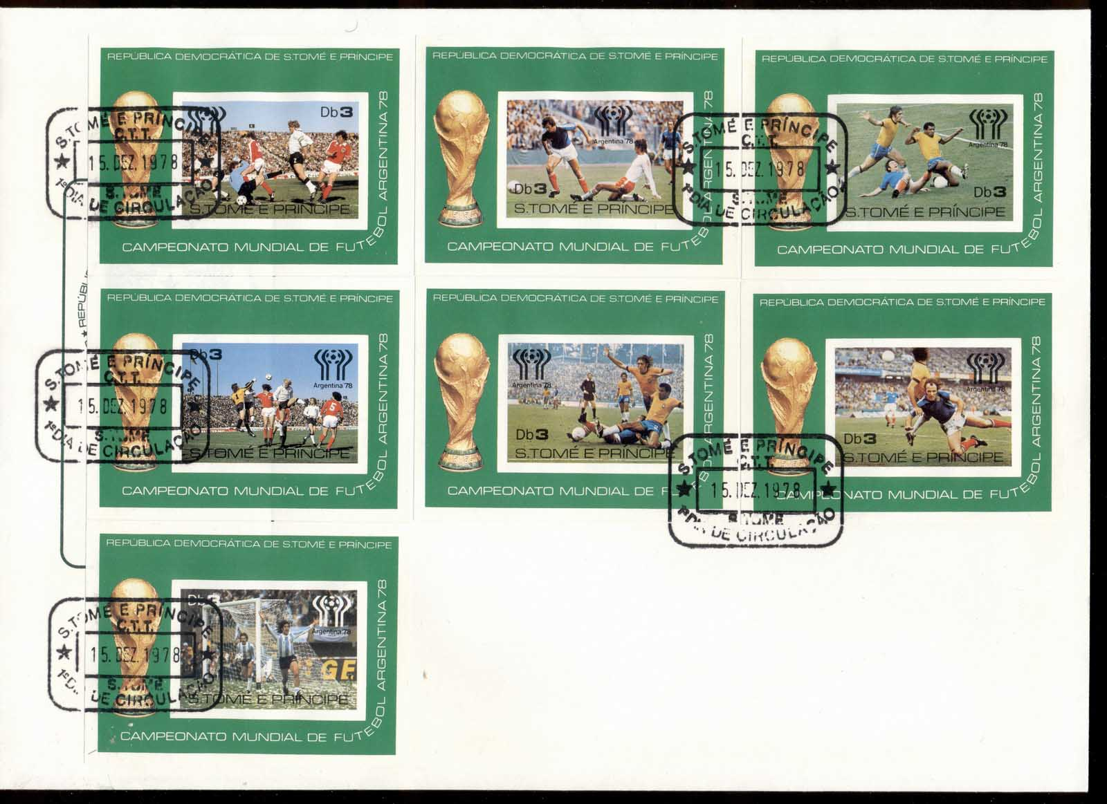 Sao Tome et Principe 1978 World Cup Soccer Argentina 7xDeluxe MS XLFDC