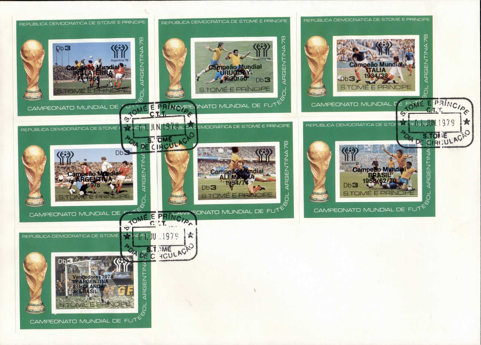 Sao Tome et Principe 1978 World Cup Soccer Argentina Opt 7xDeluxe MS XLFDC