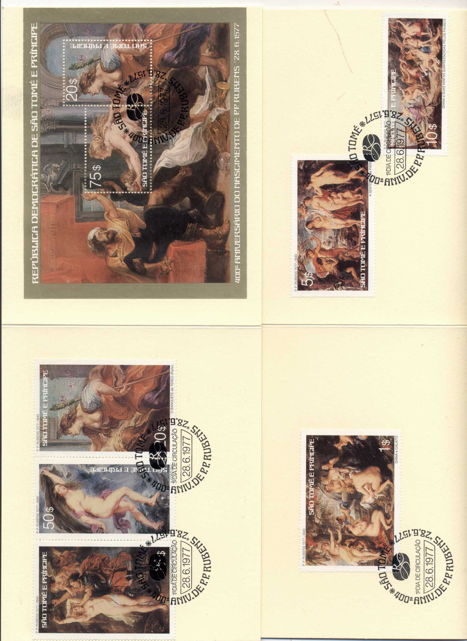 Sao Tome et Principe 1977 Paintings by Rubens + MS 2xcard FDI
