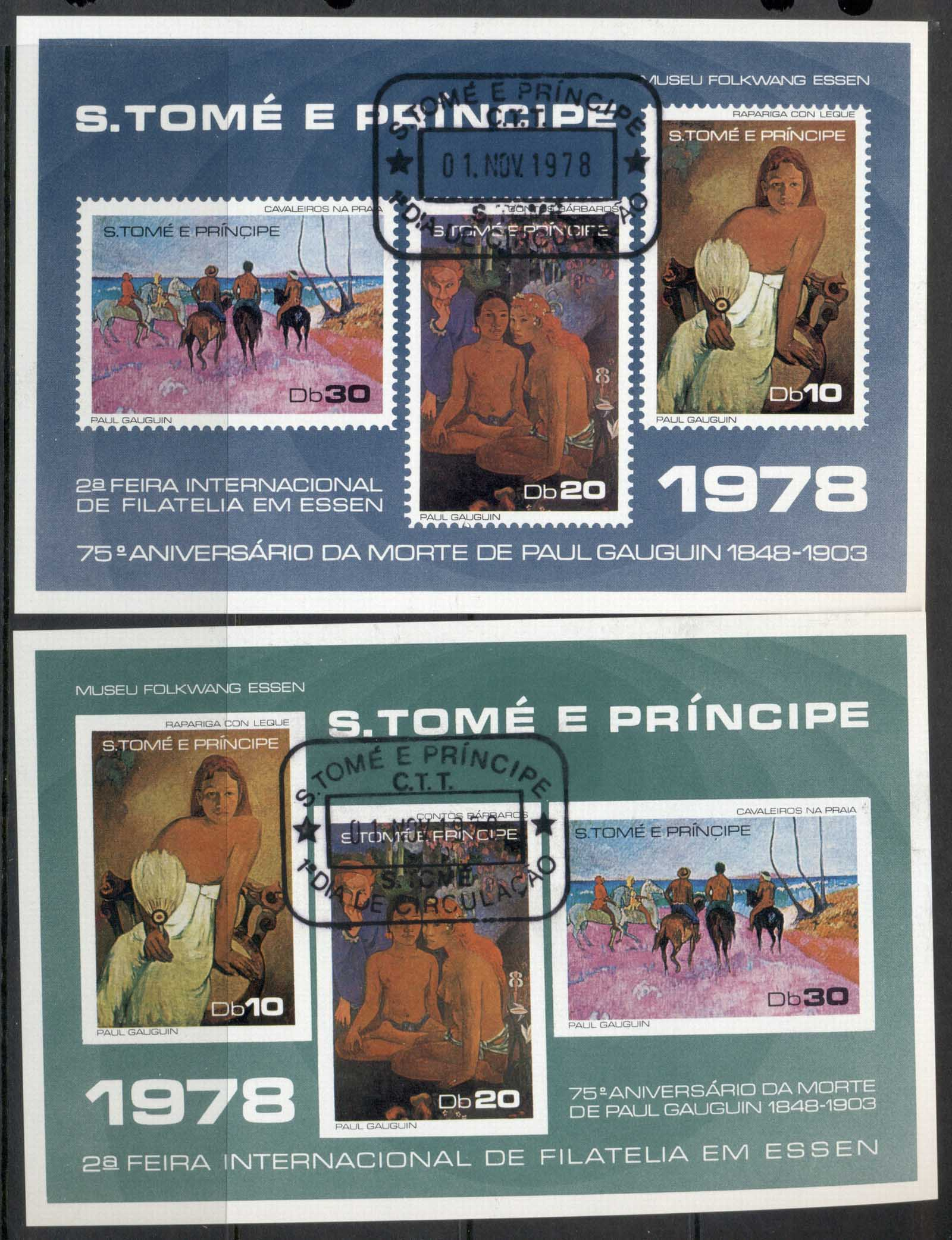 Sao Tome et Principe 1978Gaugin Paintings, Essen Stamp Ex. 2x MS CTO
