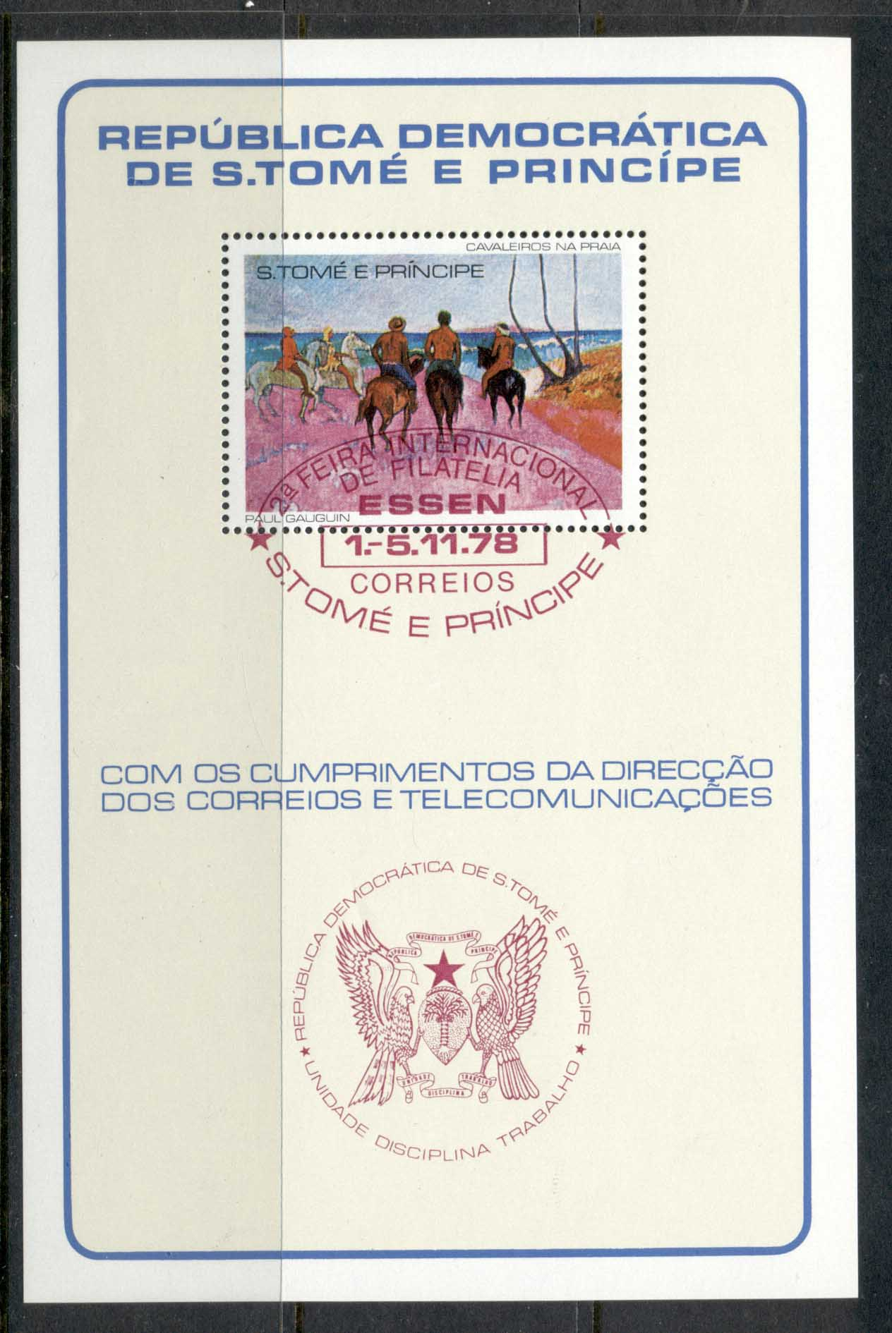 Sao Tome et Principe 1978 Gaugin, Horsemen on the Beach MS red cancel CTO