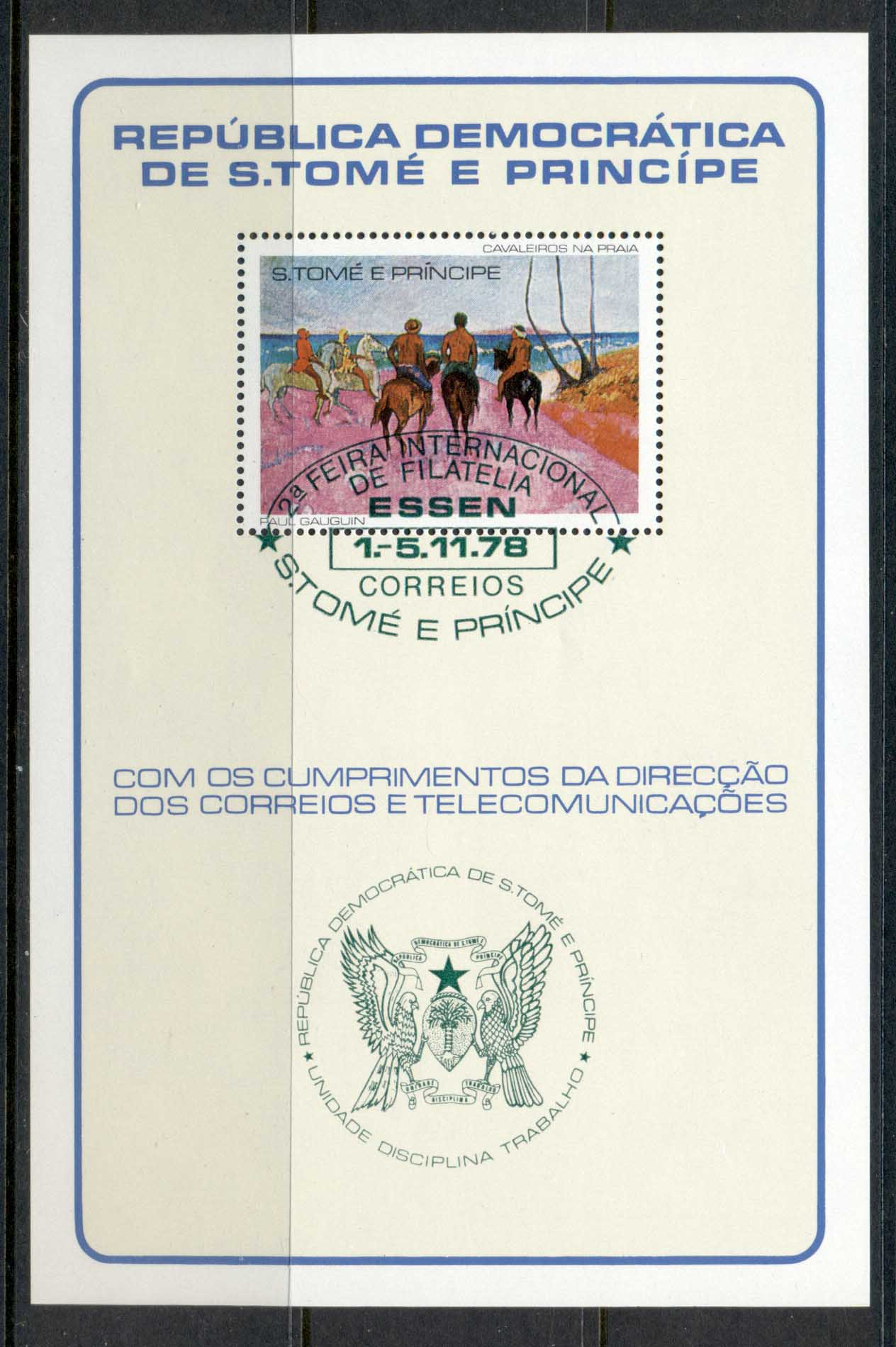 Sao Tome et Principe 1978 Gaugin, Horsemen on the Beach MS green cancel CTO