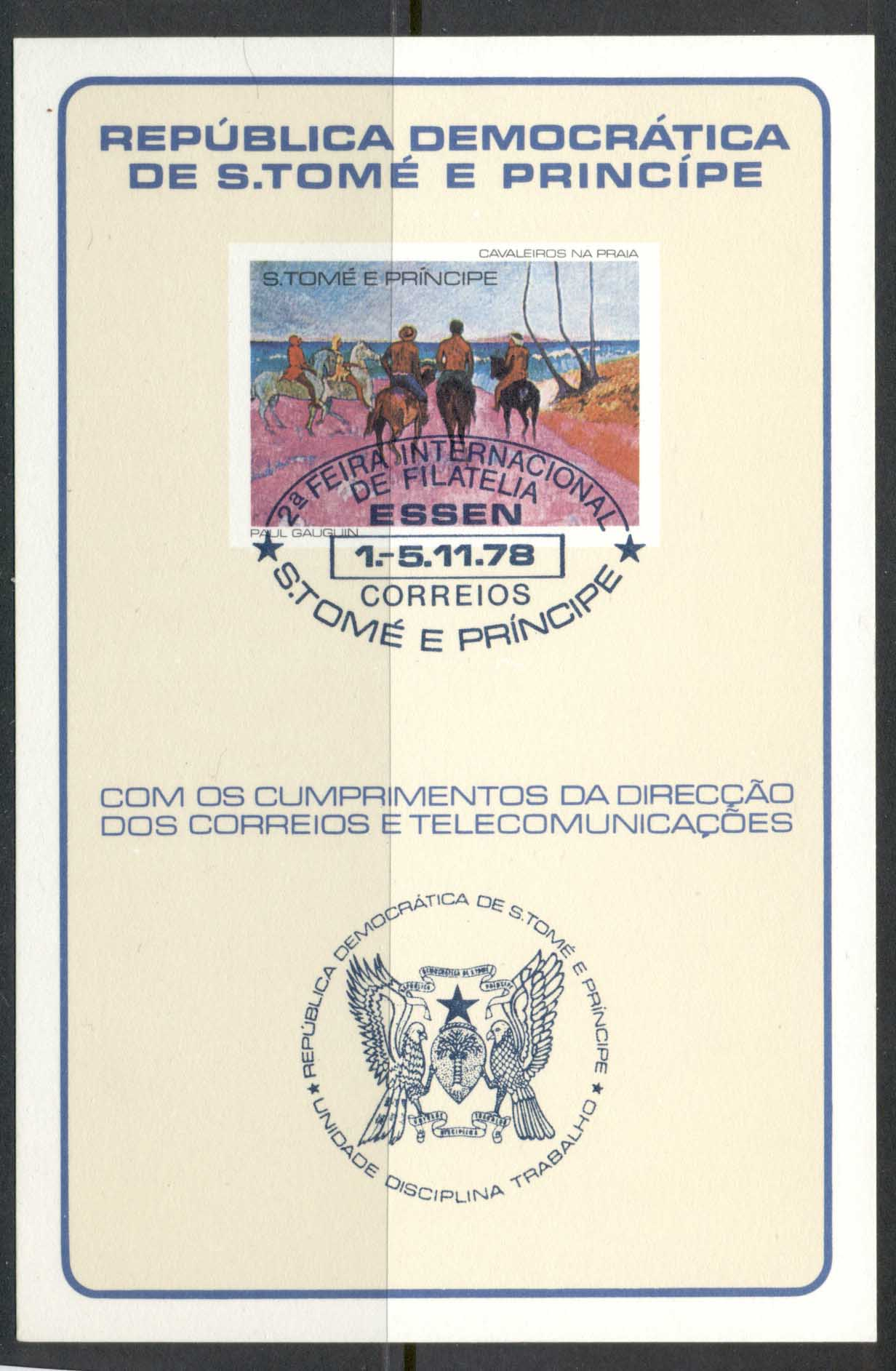 Sao Tome et Principe 1978 Gaugin, Horsemen on the Beach MS blue cancel IMPERF on card CTO