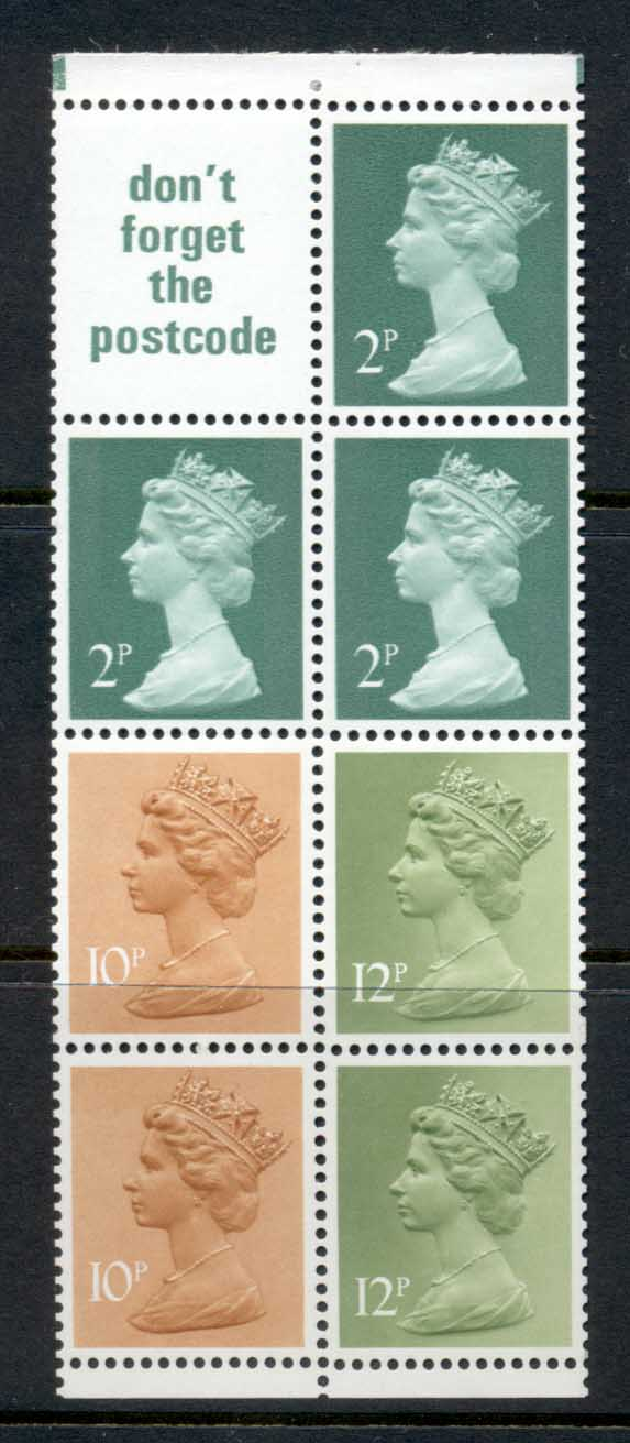 GB 1973 Machin 3x20 deep green 2B, 2x10p light orange 1BR, 2x12p lime green 2b, label bookley pane MUH