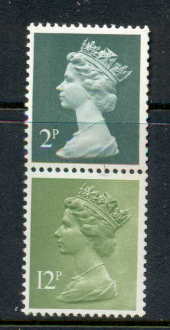 GB 1972 Machin 2p deep gerrn 2B, 12p lime green 2B MUH