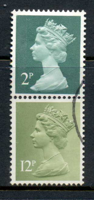 GB 1972 Machin 2p deep gerrn 2B, 12p lime green 2B FU