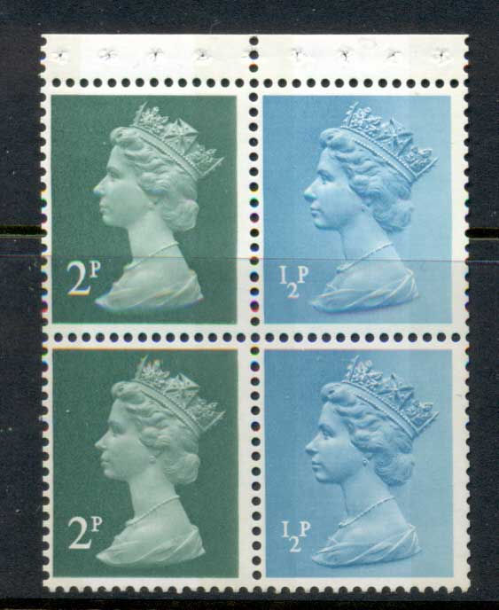 GB 1972 Machin 2x2p deep green 2B, 2x0.5p turquoise blue 2B booklet pane