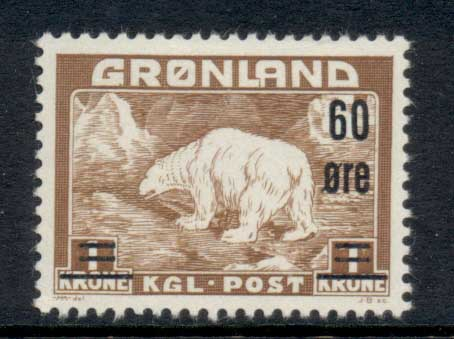 Greenland 1956 Polar Bear 60o on 1k MLH