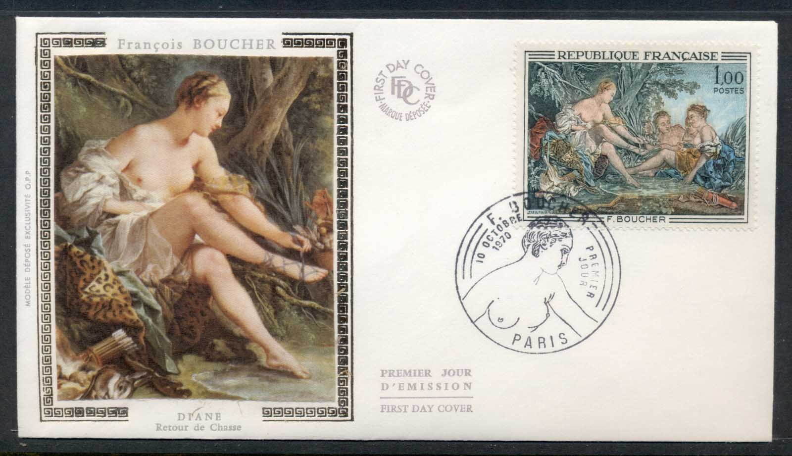 France 1970 Art, Dianna Return from the Hunt, Boucher FDC