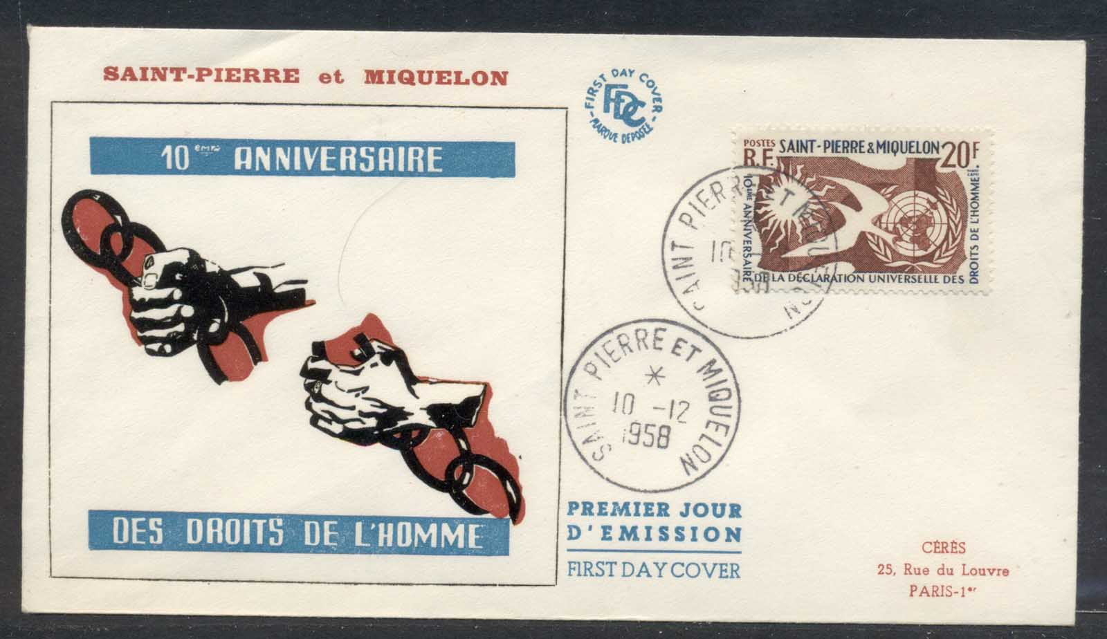 St Pierre & Miquelon 1958 Human Rights FDC