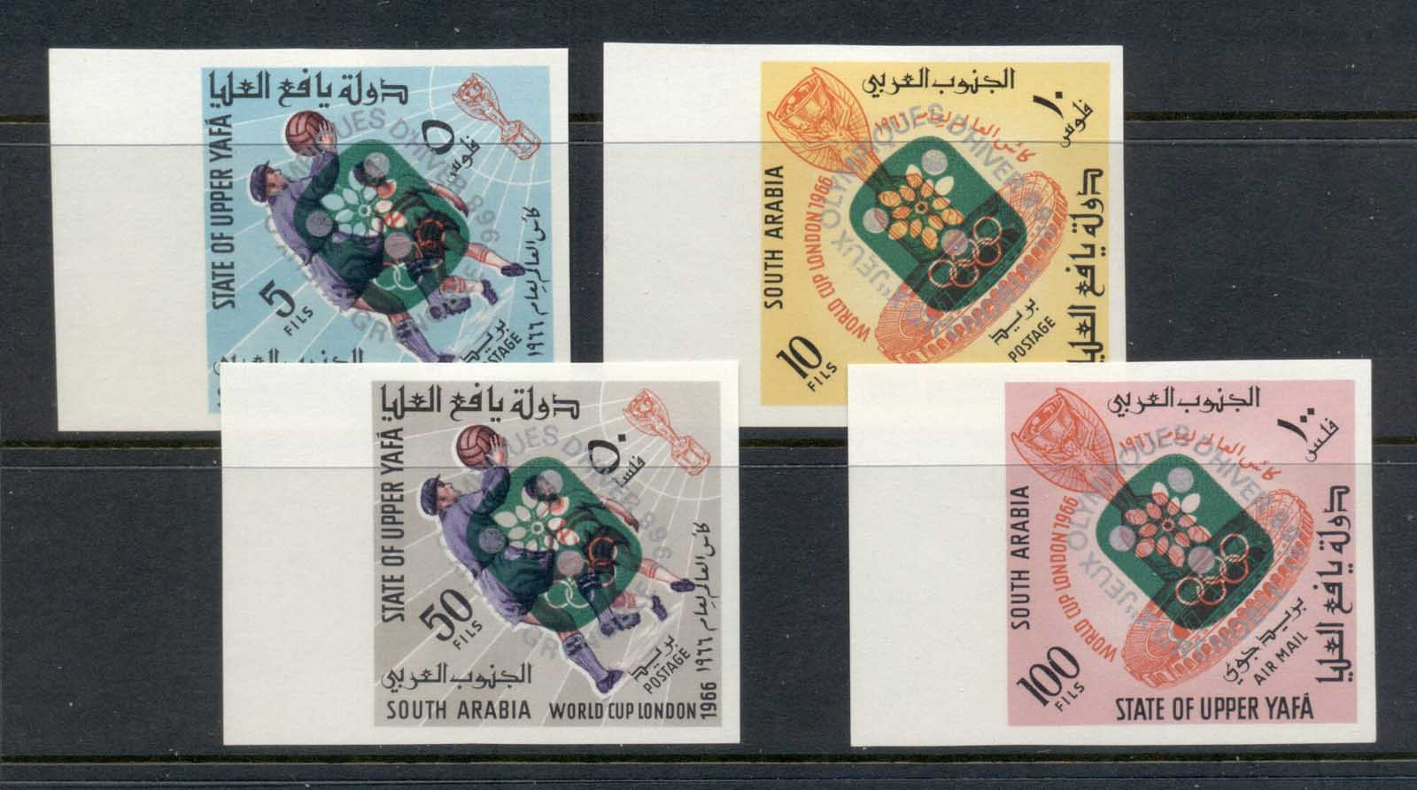 Aden State of Upper Yaffa 1967 Mi#74,76,78, 80B Winter Olympics Grenoble Opts. Green IMPERF MLH