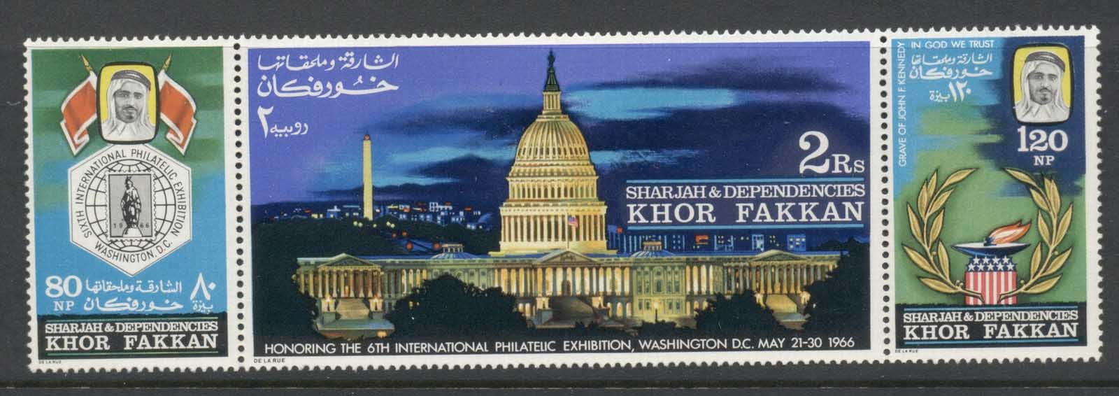 Khor Fakkan 1966 Mi#77-79 SIPEX 6th Intl. Stamp Ex. Washington MLH