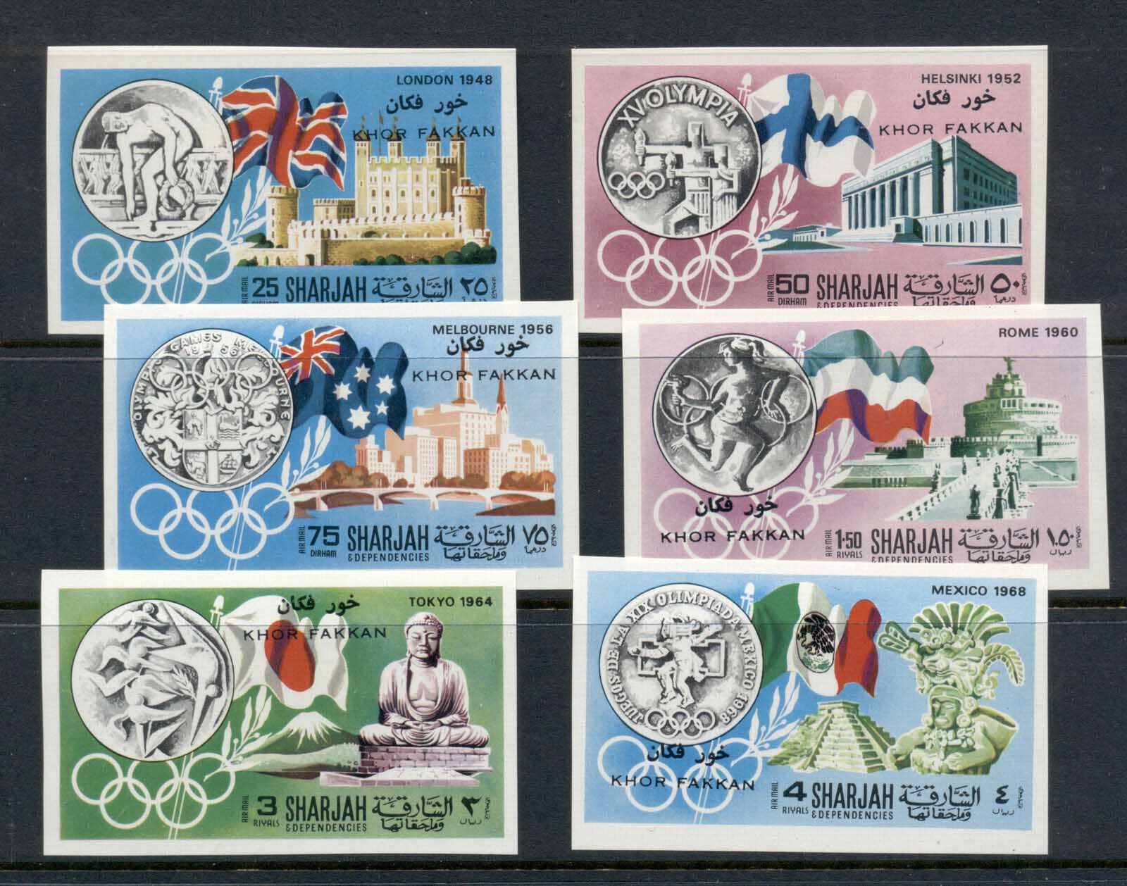Khor Fakkan 1968 Mi#164-169b History of the Olympic Games IMPERF MUH