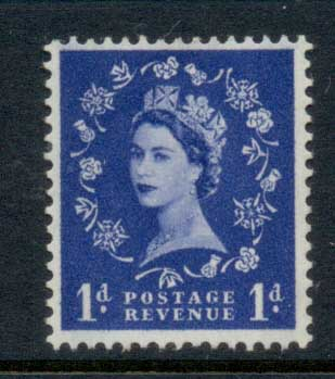 GB 1952-54 QEII Wildings, Wmk. Tudor Crown 1d MLH