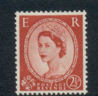GB 1952-54 QEII Wildings, Wmk. Tudor Crown 2.5d TyI MLH
