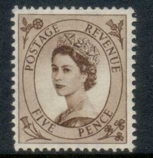 GB 1952-54 QEII Wildings, Wmk. Tudor Crown 5d MLH