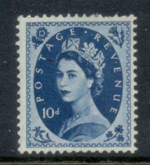 GB 1952-54 QEII Wildings, Wmk. Tudor Crown 10d (short perfs TR)MLH