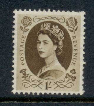 GB 1952-54 QEII Wildings, Wmk. Tudor Crown 1/- MLH