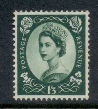 GB 1952-54 QEII Wildings, Wmk. Tudor Crown 1/3d MLH