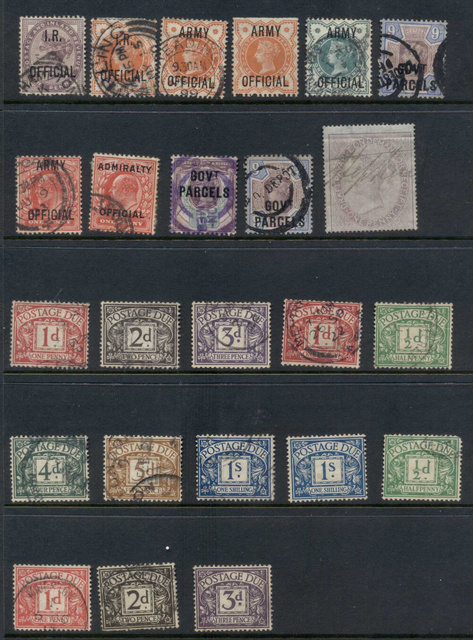 GB 1860's on Assorted Officials & Dues, condition mixed