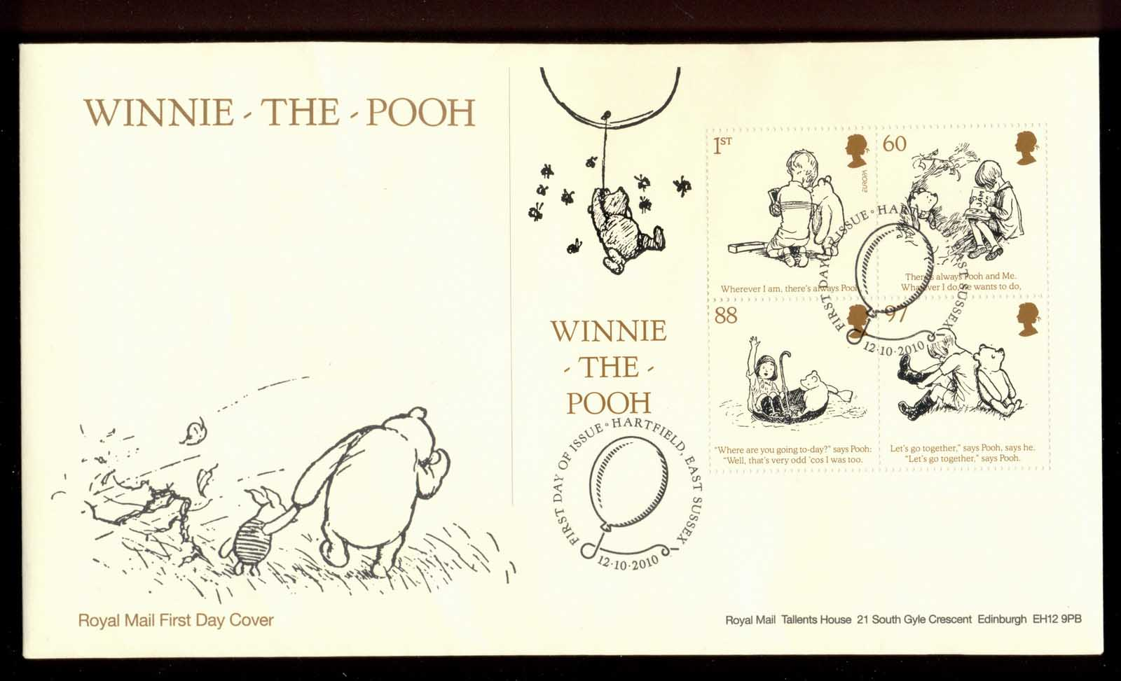 GB 2010 Europa Children's Books Winnie the Pooh MS FDC