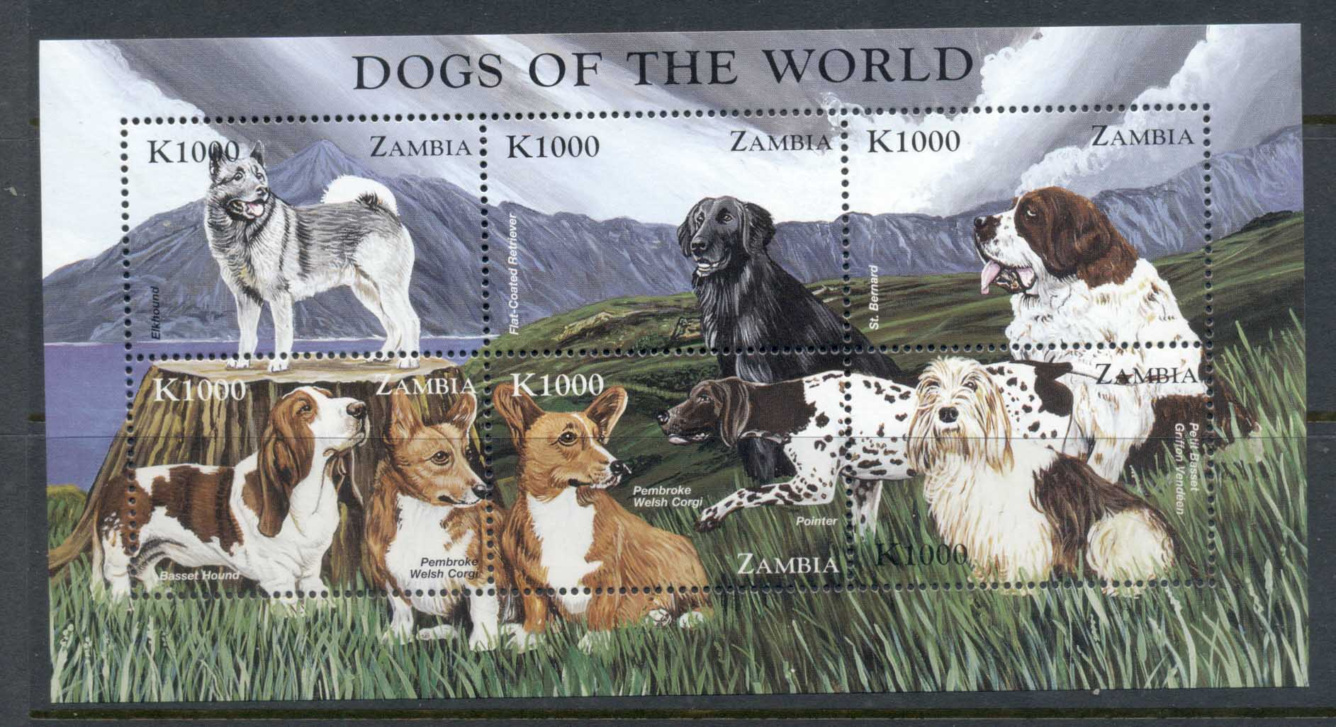 Zambia 1999 Dogs of the World sheetlet MUH