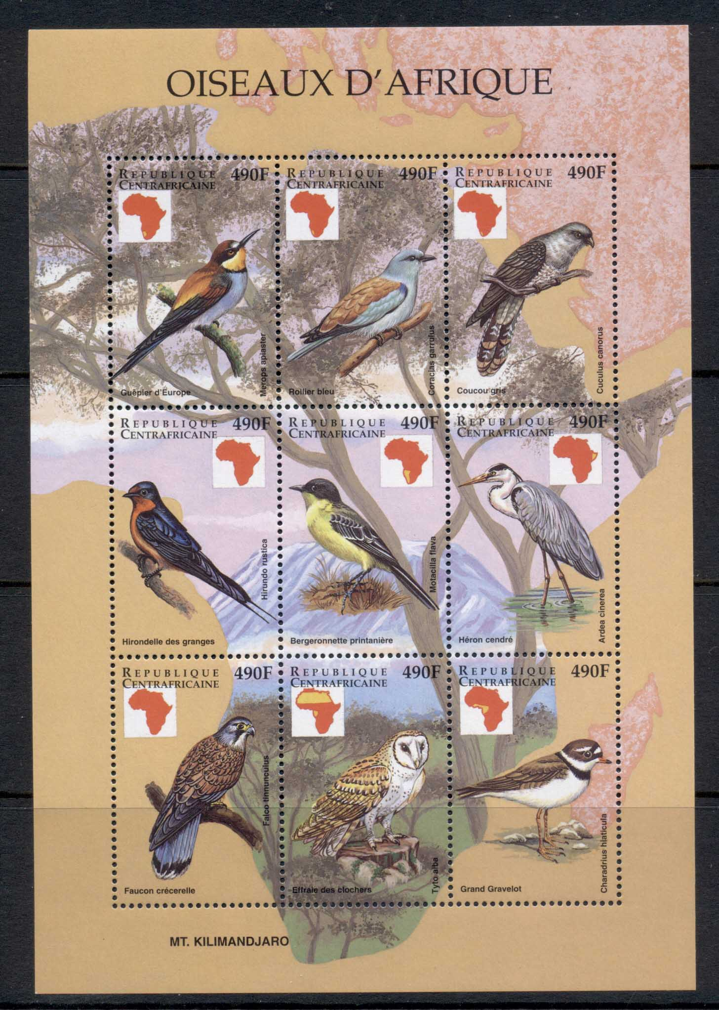 Central African Republic 1999 Birds of Africa sheetlet 490f MUH