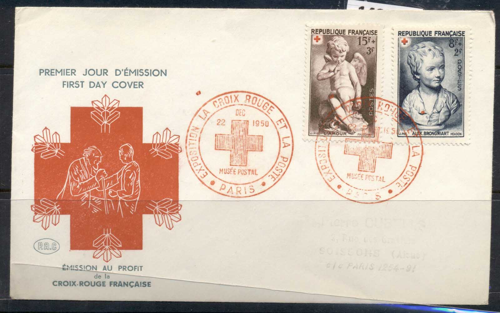 France 1950 Red Cross FDC